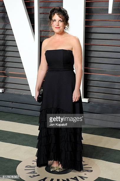 Personality Monica Lewinsky attends the 2016 Vanity Fair Oscar Party hosted By Graydon Carter at Wallis Annenberg Center for the Performing Arts on...