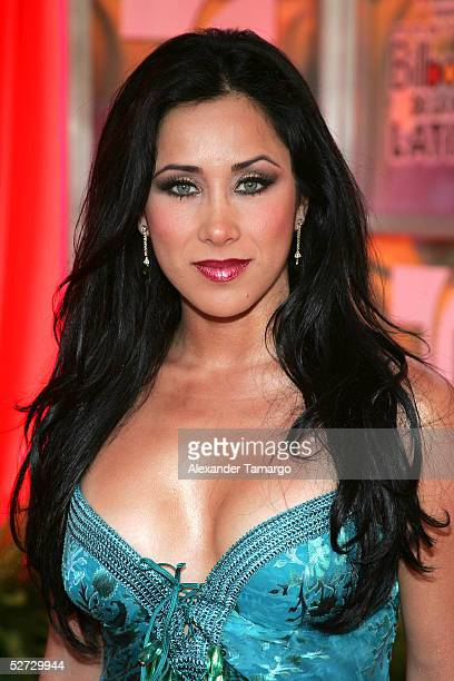 TV personality Monica Noguera arrives at the 2005 Billboard Latin Music Awards at the Miami Arena April 28 2005 in Miami Florida
