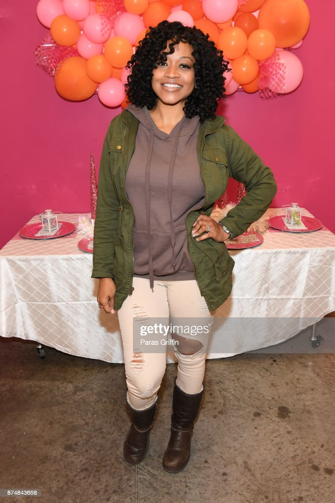 TV personality Monyetta Shaw attends Spreading Ambition Food Drive at CheeseCaked on November 15, 2017 in Atlanta, Georgia.