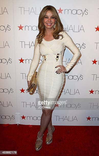 Personality Myrka Dellanos attends Macy's announcement of the exclusive deal for new Thalia brand at Sunset Tower Hotel on December 5 2013 in West...