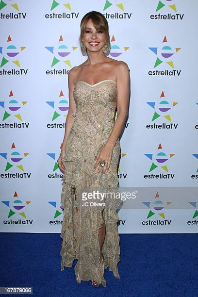 Personality Myrka Dellanos attends the launch party for Estrella TV news anchor Myrka Dellanos at The Conga Room at LA Live on May 1 2013 in Los...