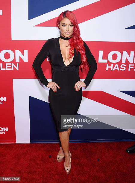 TV personality Natalie Eva Marie attends the premiere of Focus Features' 'London Has Fallen' held at ArcLight Cinemas Cinerama Dome on March 1 2016...