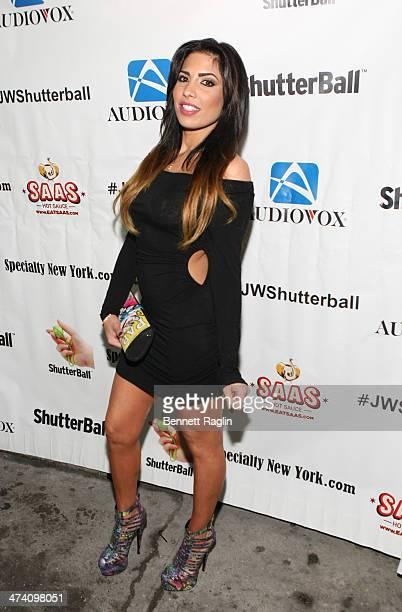 TV personality Natalie Guercio attends Jenni JWOWW Farley's Birthday Celebration at Drunken Monkey on February 21 2014 in the Staten Island borough...