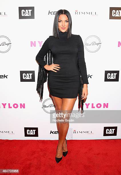 TV personality Natalie Halcro attends NYLON Magazine's Spring Fashion Issue Celebration hosted by Rita Ora at Blind Dragon on February 27 2015 in...