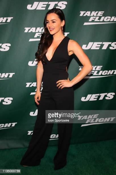 Personality Natalie Negrotti poses for photos on the green carpet at the New York Jets New Uniform Unveiling on April 4 2019 at Gotham Hall in New...