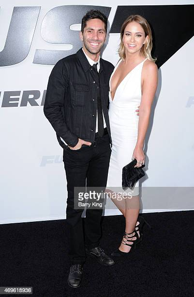 TV personality Nev Schulman and Tully Smyth arrive at the Los Angeles Premiere 'Furious 7' at TCL Chinese Theatre IMAX on April 1 2015 in Hollywood...