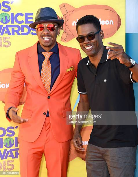 TV personality Nick Cannon and actor Chris Rock attend Nickelodeon's 28th Annual Kids' Choice Awards held at The Forum on March 28 2015 in Inglewood...