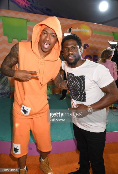 TV personality Nick Cannon and actor Kevin Hart at Nickelodeon's 2017 Kids' Choice Awards at USC Galen Center on March 11 2017 in Los Angeles...