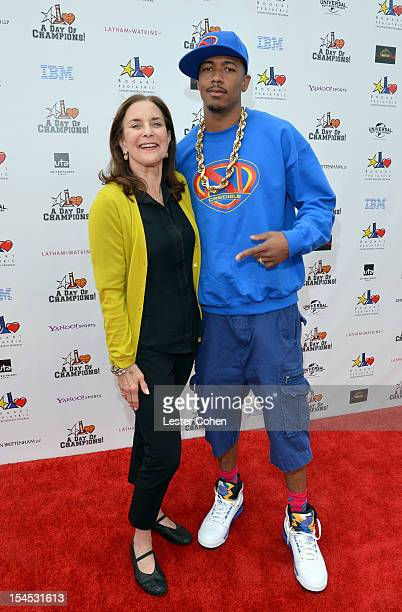 TV personality Nick Cannon and CoChair and Founder of the Bogart Pediatric Foundation Joyce Trabulus arrive for the Bogart Pediatric Cancer Research...