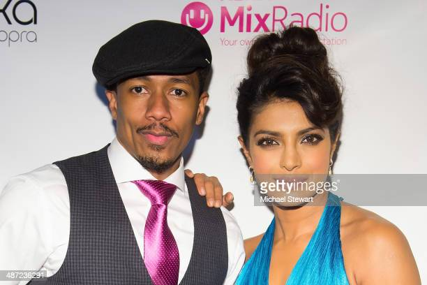 TV personality Nick Cannon and Priyanka Chopra attend the 'I Can't Make You Love Me' video premiere at Tribeca Grand Hotel on April 28 2014 in New...