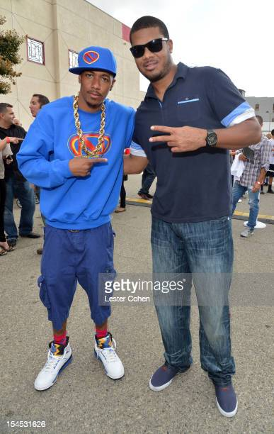 TV personality Nick Cannon and pro baseball player Kenley Jansen attend the Bogart Pediatric Cancer Research Program's A Day Of Champions Children's...