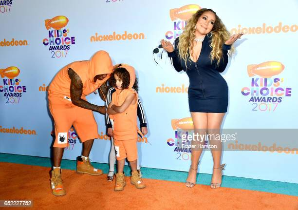 TV personality Nick Cannon and singer Mariah Carey with Monroe Cannon and Moroccan Scott Cannon at Nickelodeon's 2017 Kids' Choice Awards at USC...