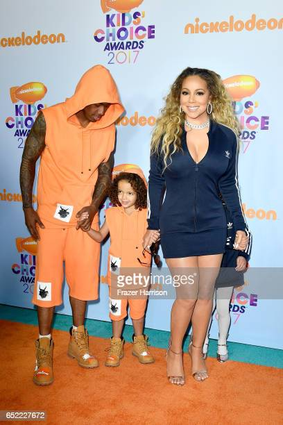 TV personality Nick Cannon and singer Mariah Carey with Moroccan Scott Cannon at Nickelodeon's 2017 Kids' Choice Awards at USC Galen Center on March...