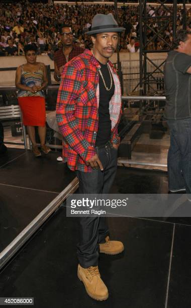 TV personality Nick Cannon attend D'USSE VIP Riser Lounge At On The Run Tour MetLife Stadium on July 12 2014 in East Rutherford City
