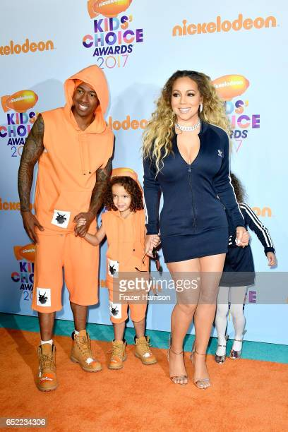TV personality Nick Cannon Moroccan Scott Cannon singer Mariah Carey and Monroe Cannon at Nickelodeon's 2017 Kids' Choice Awards at USC Galen Center...