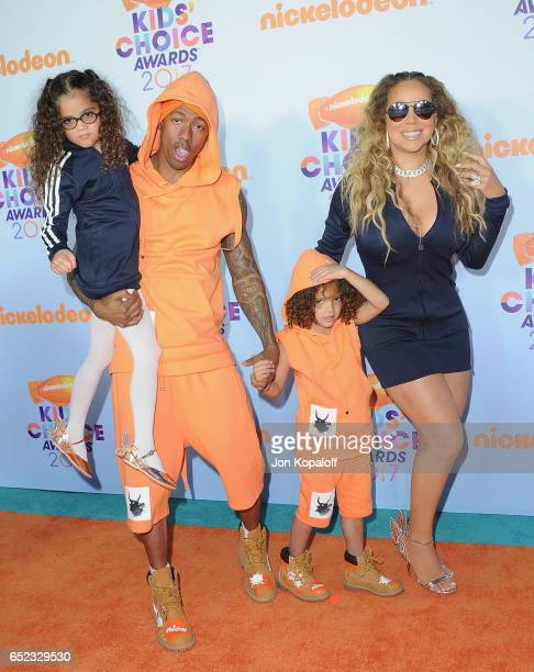 R TV personality Nick Cannon Moroccan Scott Cannon singer Mariah Carey and Monroe Cannon arrive at the Nickelodeon's 2017 Kids' Choice Awards at USC...