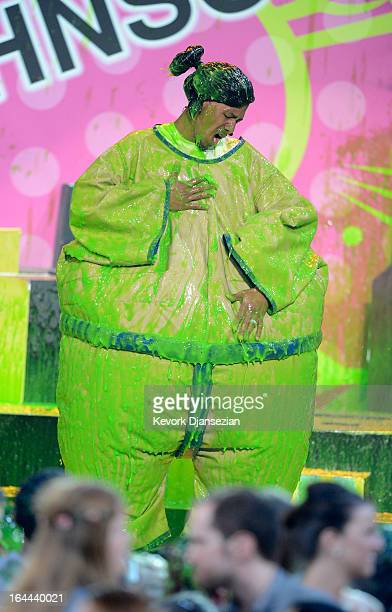 TV personality Nick Cannon performs onstage during Nickelodeon's 26th Annual Kids' Choice Awards at USC Galen Center on March 23 2013 in Los Angeles...