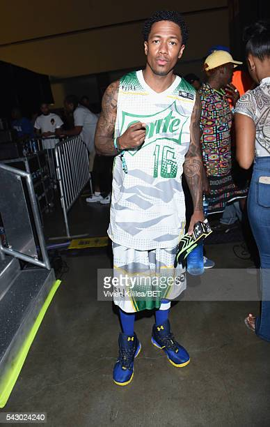 TV personality Nick Cannon seen in the green room at the celebrity basketball game during the 2016 BET Experience at the JW Marriott Los Angeles LA...