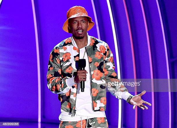 TV personality Nick Cannon speaks onstage at the Nickelodeon Kids' Choice Sports Awards 2015 at UCLA's Pauley Pavilion on July 16 2015 in Westwood...
