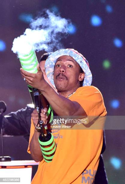 TV personality Nick Cannon speaks onstage during Nickelodeon Kids' Choice Sports Awards 2014 at UCLA's Pauley Pavilion on July 17 2014 in Los Angeles...