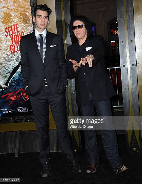 TV personality Nick Simmons and musician Gene Simmons arrives for the Premiere Of Warner Bros Pictures And Legendary Pictures' '300 Rise Of An...