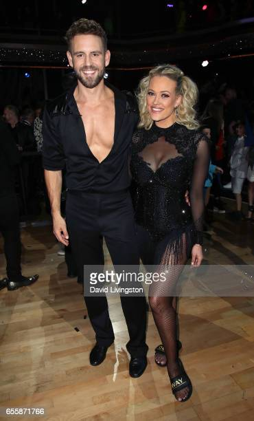 TV personality Nick Viall and dancer Peta Murgatroyd attend 'Dancing with the Stars' Season 24 premiere at CBS Televison City on March 20 2017 in Los...