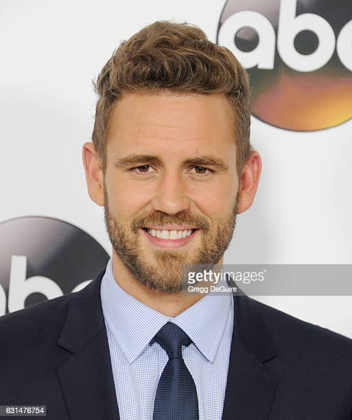 TV personality Nick Viall of The Bachelor arrives at the 2017 Winter TCA Tour Disney/ABC at the Langham Hotel on January 10 2017 in Pasadena...