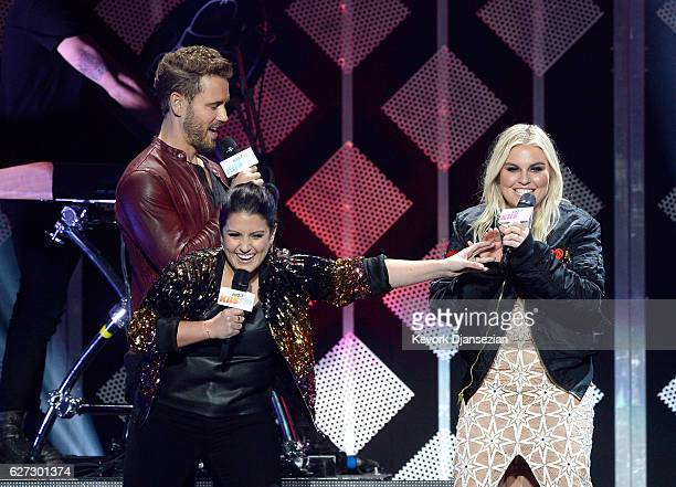 TV personality Nick Viall radio personality Sisanie and radio personality Tanya Rad speak onstage during 1027 KIIS FM's Jingle Ball 2016 at Staples...