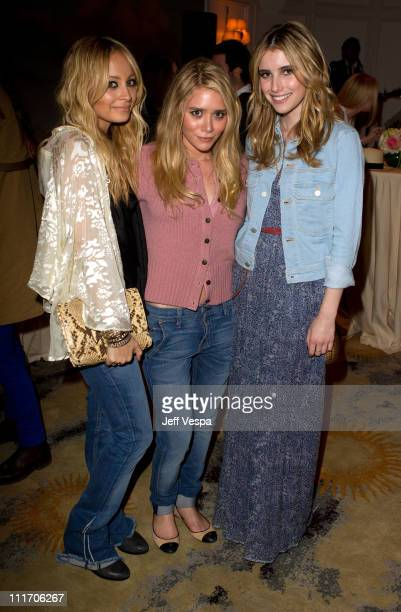 TV personality Nicole Richie fashion designer Ashley Olsen and actress Emma Roberts attend the Celebration of TEXTILE Elizabeth and James with...