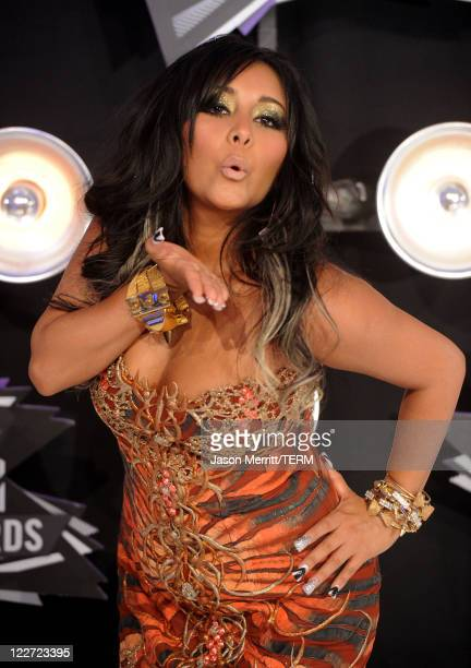 TV personality Nicole 'Snooki' Polizzi arrives at the 2011 MTV Video Music Awards at Nokia Theatre LA LIVE on August 28 2011 in Los Angeles California
