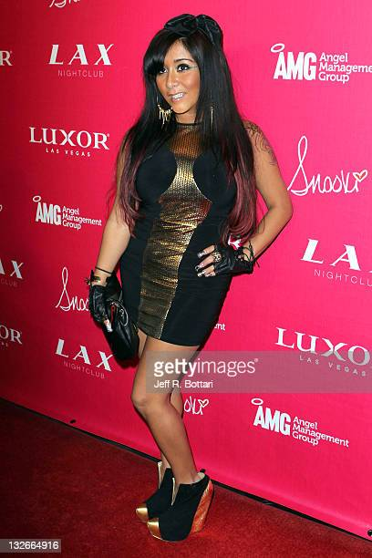 """Personality Nicole """"Snooki"""" Polizzi arrives at the LAX Nightclub at the Luxor Resort & Casino to celebrate her birthday on November 13, 2011 in Las..."""