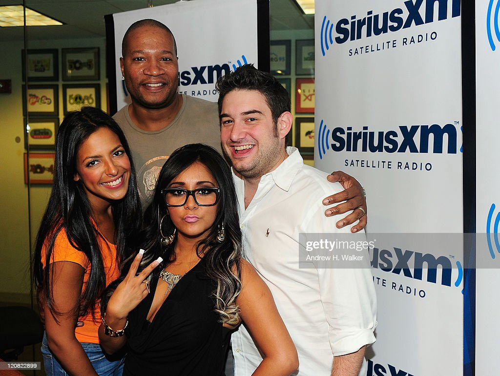 TV personality Nicole 'Snooki' Polizzi (Center) with SiriusXM Hits 1 Morning Mash Up crew (L-R) Nicole, Stanley T. and Ryan on August 11, 2011 in New York City.