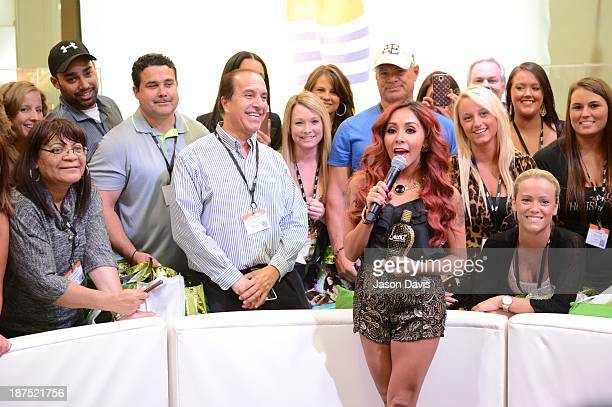 V Personality Nicole ' Snooky ' Polizzi shoots a commercial during the Nicole 'Snooki' Polizzi Meet Greet during the 2013 Smart Tan Downtown...
