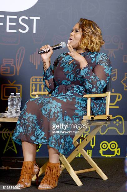 TV personality Nina Parker records onstage during the Throwing Shade podcast at Entertainment Weekly's PopFest at The Reef on October 30 2016 in Los...
