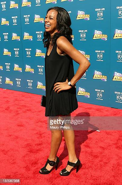 TV personality Nischelle Turner arrives to the 2008 BET Awards at the Shrine Auditorium on June 24 2008 in Los Angeles California