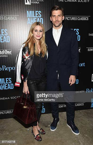 TV personality Olivia Palermo and model Johannes Huebl arrive at the screening of Sony Pictures Classics' Miles Ahead hosted by The Cinema Society...