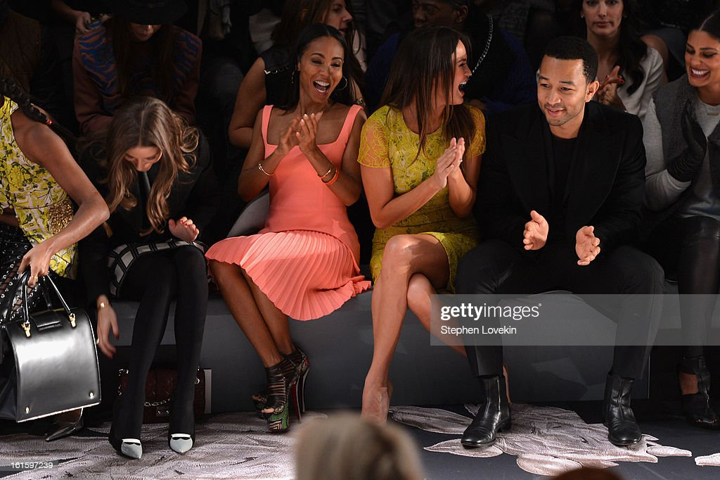 TV personality Olivia Palermo, Jada Pinkett Smith, model Chrissy Teigen, and singer John Legend attend the Vera Wang Fall 2013 fashion show during Mercedes-Benz Fashion Week at The Stage at Lincoln Center on February 12, 2013 in New York City.