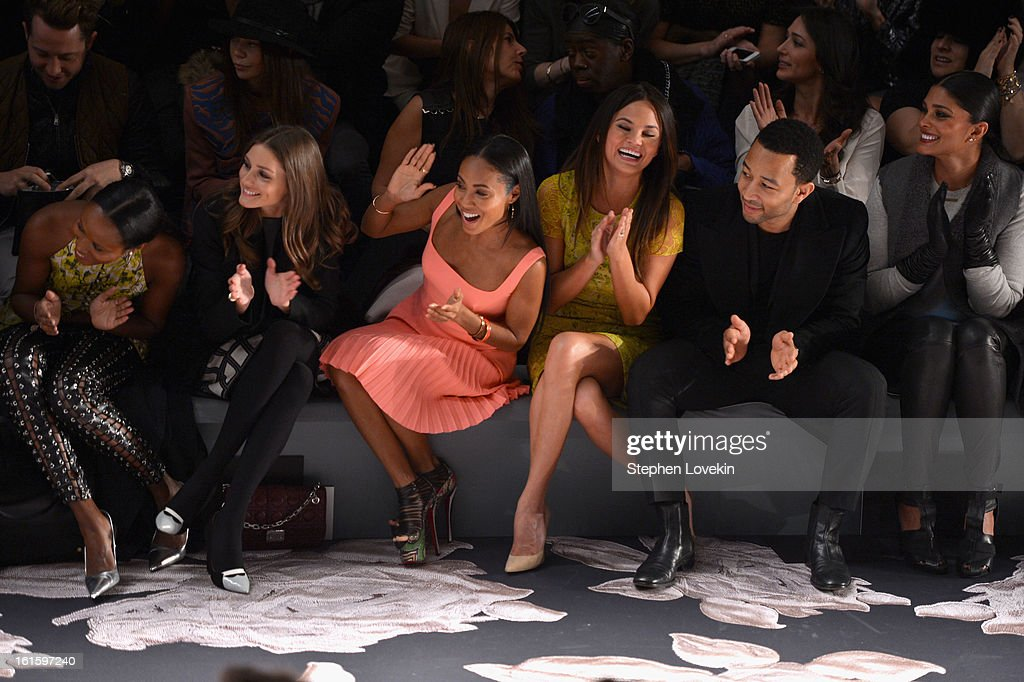 TV personality Olivia Palermo, Jada Pinkett Smith, model Chrissy Teigen, singer John Legend, and Rachel Roy attend the Vera Wang Fall 2013 fashion show during Mercedes-Benz Fashion Week at The Stage at Lincoln Center on February 12, 2013 in New York City.