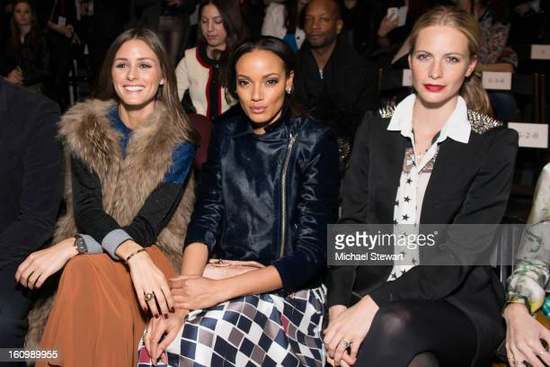 TV personality Olivia Palermo model Selita Ebanks and model Poppy Delevingne attend Noon By Noor Fall 2013 MercedesBenz Fashion Week at The Studio at...
