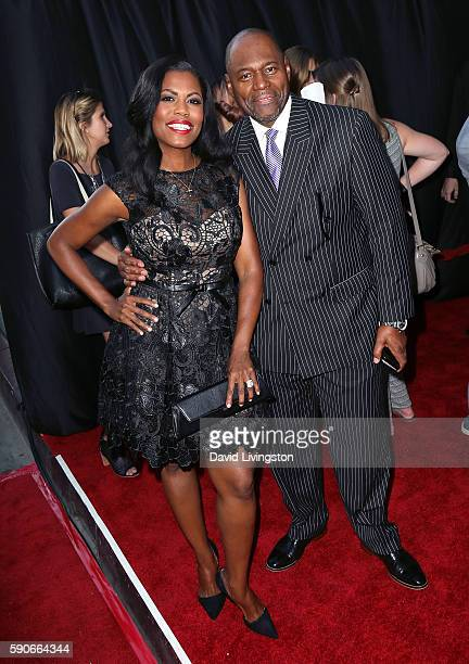 TV personality Omarosa Manigault and Pastor John Allen Newman attend the premiere of Paramount Pictures' BenHur at the TCL Chinese Theatre IMAX on...