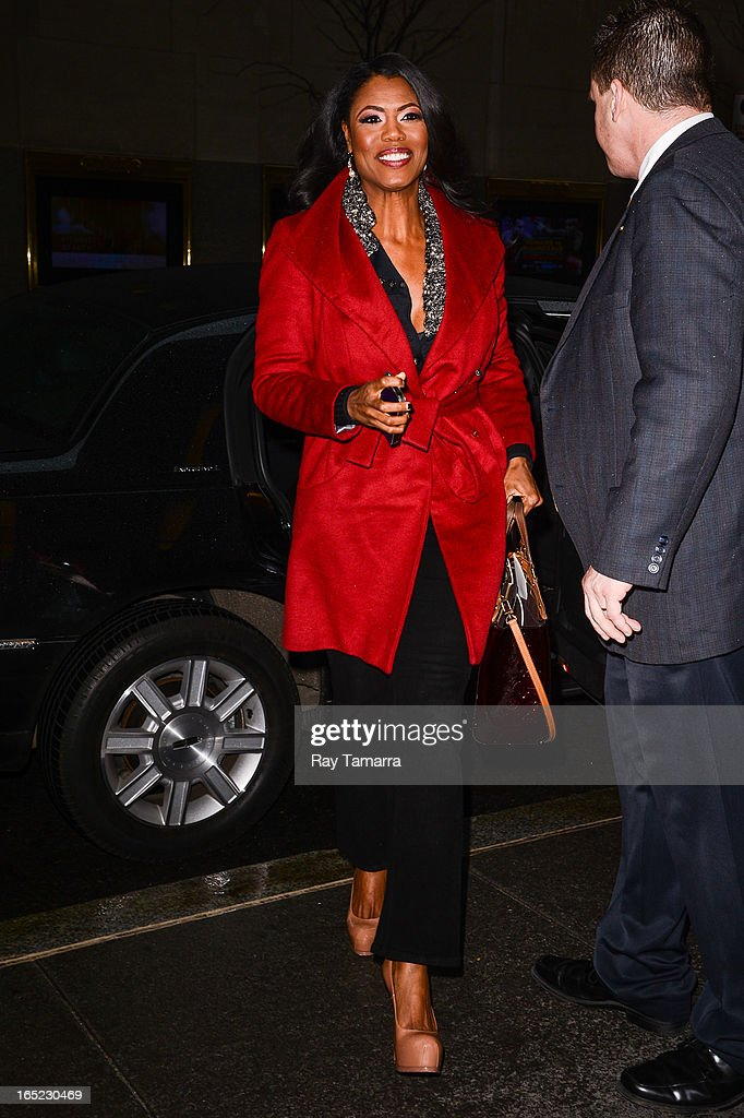TV personality Omarosa Manigault enters the 'Late Night With Jimmy Fallon' taping at the NBC Rockefeller Center Studios on April 1, 2013 in New York City.