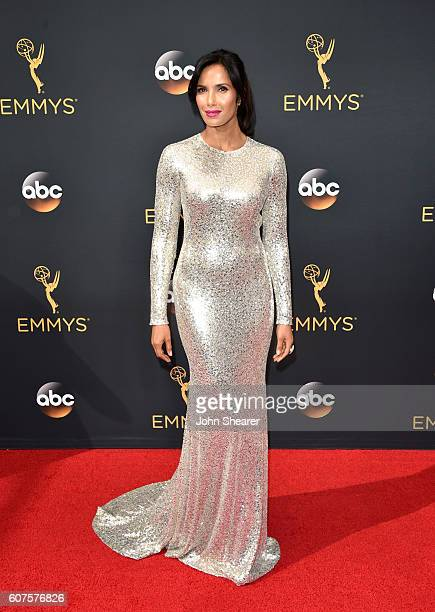TV personality Padma Lakshmi arrives at the 68th Annual Primetime Emmy Awards at Microsoft Theater on September 18 2016 in Los Angeles California