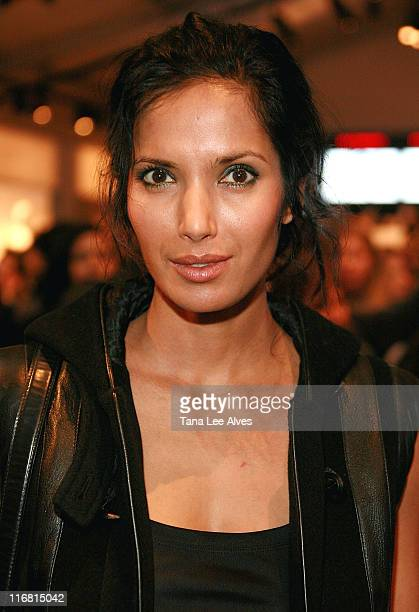 Personality Padma Lakshmi attends Mercedes-Benz Fashion Week Fall 2008 at Bryant Park February 4, 2008 in New York City.