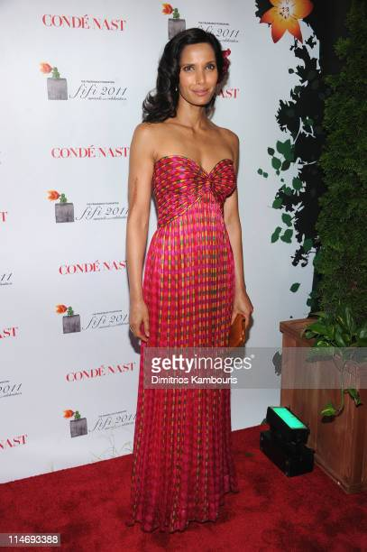 TV personality Padma Lakshmi attends the 2011 FiFi Awards at The Tent at Lincoln Center on May 25 2011 in New York City