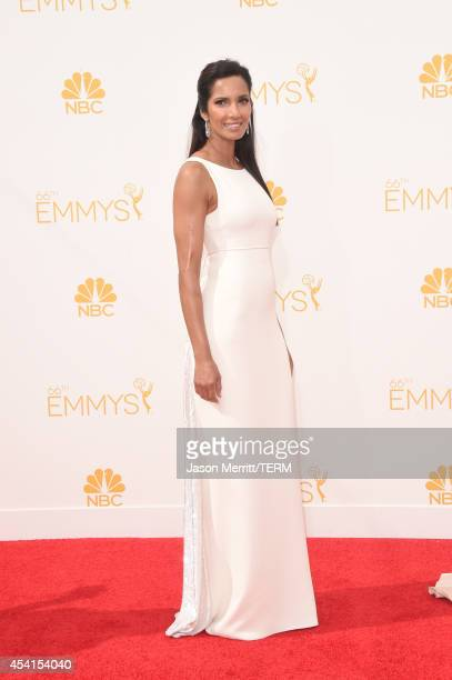 TV personality Padma Lakshmi attends the 66th Annual Primetime Emmy Awards held at Nokia Theatre LA Live on August 25 2014 in Los Angeles California