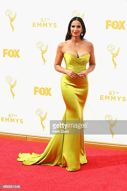 TV personality Padma Lakshmi attends the 67th Annual Primetime Emmy Awards at Microsoft Theater on September 20 2015 in Los Angeles California