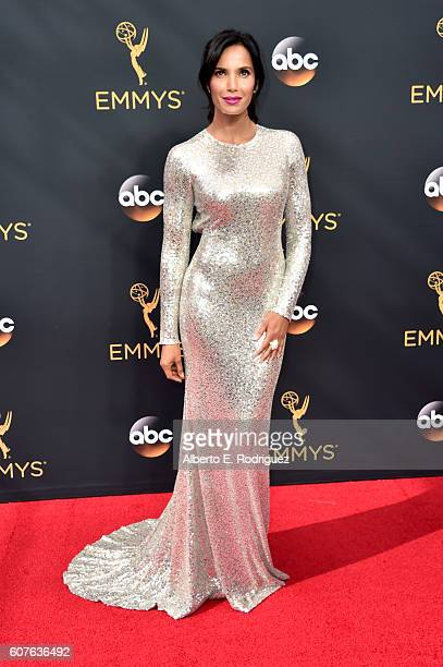 TV personality Padma Lakshmi attends the 68th Annual Primetime Emmy Awards at Microsoft Theater on September 18 2016 in Los Angeles California