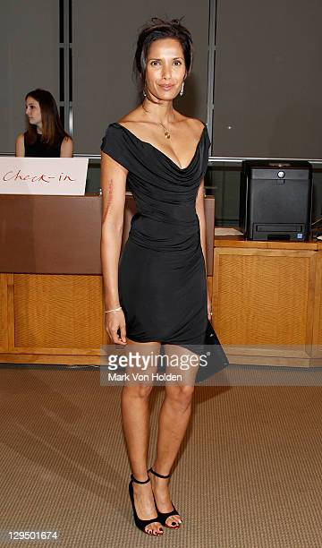 TV personality Padma Lakshmi attends The New York Academy of Art's 20th Annual Take Home a Nude benefit at Sotheby's on October 17 2011 in New York...