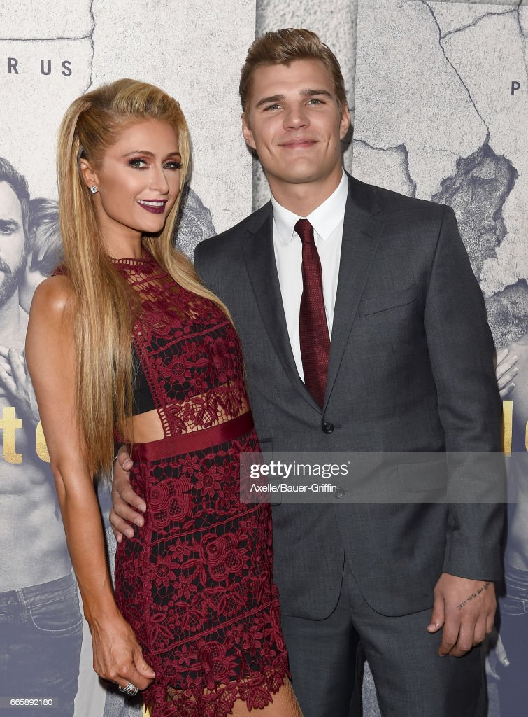 TV personality Paris Hilton and actor Chris Zylka arrive at the Season 3 Premiere of 'The Leftovers' at Avalon Hollywood on April 4, 2017 in Los Angeles, California.