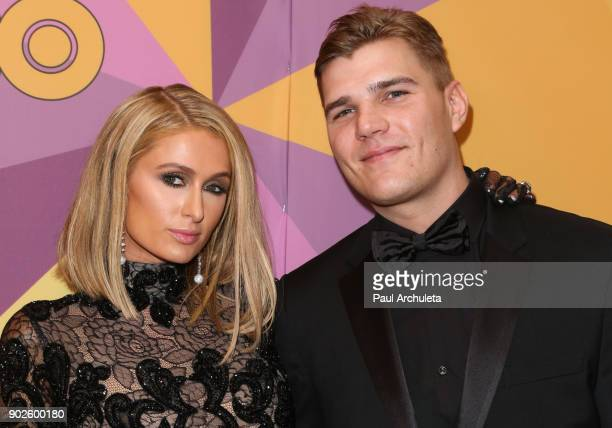 Personality Paris Hilton and Actor Chris Zylka attend HBO's official Golden Globe Awards after party at The Circa 55 Restaurant on January 7 2018 in...